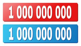 1 000 000 000 Title on Blue and Red Rectangle Buttons. 1 000 000 000 text on rounded rectangle buttons. Designed with white title with shadow and blue and red vector illustration