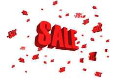 Text SALE för priser 3d för rött försäljningstecken fallande röd Arkivfoton