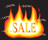 The text sale on fire. Fiery inscription sale and discounts Stock Images