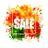 Text Sale in frame in paper style on multicolor blots background Stock Photos