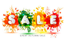 Text Sale in paper style on multicolor blots background. Royalty Free Stock Photos