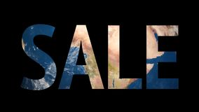 Text Sale revealing turning Earth globe. 4K stock footage