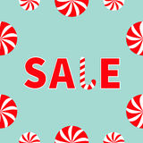 Text Sale Round white and red sweet Candy cane set banner, advertising poster. Winter Merry Christmas season offer. Flat design. B Stock Photos