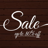 Text sale up to 80 off on the wooden planks Royalty Free Stock Image