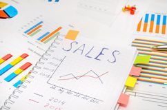 Text sales at notebook with analytic graphs and charts. Business Report in Charts and Graphs with dollar, pen and calculator Stock Photos