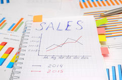 Text sales at notebook with analytic graphs and charts. Pen Royalty Free Stock Photos