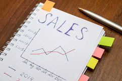 Text sales at notebook with analytic graphs and charts. Charts on wooden work table close-up Stock Image