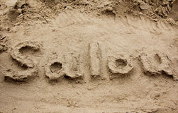 Text on the sand Stock Photo