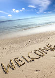 Text on sand - welcome Royalty Free Stock Photos