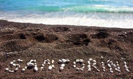 Text Santorini gemacht mit Bimssteinen Stockfoto