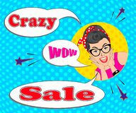 Crazy sale with pop art woman stock illustration