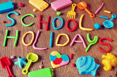 Text School Holidays Made From Modelling Clay Royalty Free Stock Photos