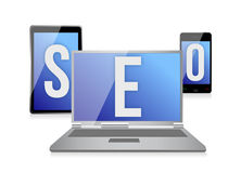 Text SEO on screen of laptop, tablet and phone vector illustration