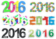 2016 text set. Illustration set of colorful 2016 year text Stock Photography