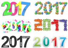 2017 text set. Illustration set of colorful 2017 year text Stock Photo