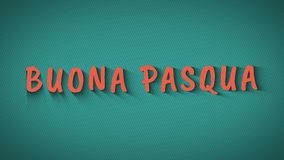 Animated bouncing letters `Buona Pasqua`. Animation bouncing letters with shadows. `Buona Pasqua`. Happy Easter in italian language. Orange text on blue royalty free illustration