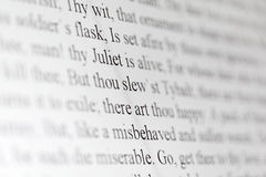 Text of Shakespeare drama Romeo and Juliet. On black and white display close up Stock Photo
