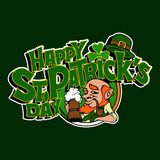 Text with shamrock and leprechaun for St.Patrick`s Day. vector illustration
