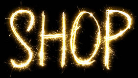Text Shop made of sparkler Royalty Free Stock Photography