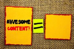 Text showing Awesome Content. Business photo showcasing Creative Strategy Education Website Concept written on Sticky note Paper E. Text showing Awesome Content Stock Image