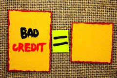 Text showing Bad Credit. Business photo showcasing Poor Bank Rating Score For Loan Finance written on Sticky note Paper Equation F. Text showing Bad Credit royalty free stock photos