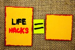 Text showing Life Hacks. Business photo showcasing Solution Hacking Hack Trick To Help Efficiency written on Sticky note Paper Equ. Text showing Life Hacks Royalty Free Stock Photo