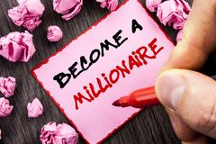 Text sign  Become A Millionaire. Business concept for Ambition To Become Wealthy Earn Fortune Fortunate written Pin Sticky Note Pa. Text sign Become A Royalty Free Stock Images