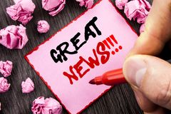 Text sign  Great News. Business concept for Success Newspaper Information Celebration written Pin Sticky Note Paper Folded Paper t. Text sign Great News Stock Image