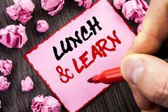 Text sign  Lunch And Learn. Business concept for Presentation Training Board Course written Pin Sticky Note Paper Folded Paper the. Text sign Lunch And Learn Stock Images