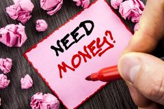 Text sign  Need Money Question. Business concept for Economic Finance Crisis, Cash Loan Needed written Pin Sticky Note Paper Folde. Text sign Need Money Question Royalty Free Stock Image