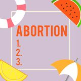 Text sign showing Abortion. Conceptual photo Deliberate termination of a huanalysis pregnancy Death of the embryo.  royalty free illustration