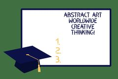 Text sign showing Abstract Art Worldwide Creative Thinking. Conceptual photo Modern inspiration artistically Graduation cap with. Tassel Academic Scholar royalty free illustration