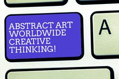Text sign showing Abstract Art Worldwide Creative Thinking. Conceptual photo Modern inspiration artistically Keyboard. Key Intention to create computer message vector illustration
