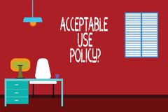 Text sign showing Acceptable Use Policyquestion. Conceptual photo set of rules applied by the owner of a network Work vector illustration