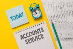 Text sign showing Accounts Service. Conceptual photo accessing list of user profiles and information linked Spiral. Text sign showing Accounts Service. Business stock image