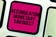 Text sign showing Accumulation Monetary Savingsquestion. Conceptual photo Increase in financial assets Keyboard key. Intention to create computer message stock photos