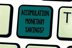 Text sign showing Accumulation Monetary Savingsquestion. Conceptual photo Increase in financial assets Keyboard key. Intention to create computer message royalty free stock photos
