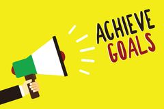 Text sign showing Achieve Goals. Conceptual photo Results oriented Reach Target Effective Planning Succeed Man holding megaphone l. Oudspeaker yellow background vector illustration