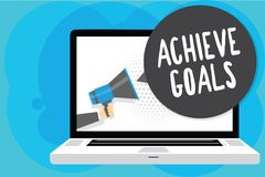 Text sign showing Achieve Goals. Conceptual photo Results oriented Reach Target Effective Planning Succeed Man holding Megaphone l. Oudspeaker computer screen stock illustration