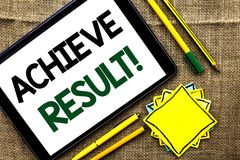 Text sign showing Achieve Result Motivational Call. Conceptual photo Obtain Success Reaching your goals written on Tablet on the j. Text sign showing Achieve Royalty Free Stock Photo