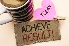 Text sign showing Achieve Result Motivational Call. Conceptual photo Obtain Success Reaching your goals written on Tear Cardboard. Text sign showing Achieve Royalty Free Stock Photos