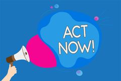 Text sign showing Act Now. Conceptual photo Having fast response Asking someone to do action Dont delay Man holding Megaphone loud. Speaker screaming talk royalty free stock images