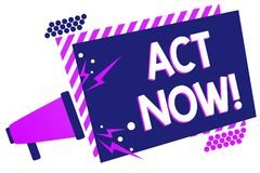 Text sign showing Act Now. Conceptual photo Having fast response Asking someone to do action Dont delay Megaphone loudspeaker purp. Le striped frame important stock photo