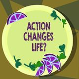 Text sign showing Action Changes Things. Conceptual photo overcoming adversity by taking action on challenges Cutouts of. Sliced Lime Wedge and Herb Leaves on stock illustration