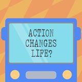 Text sign showing Action Changes Things. Conceptual photo overcoming adversity by taking action on challenges Drawn Flat Front. View of Bus with Blank Color royalty free illustration