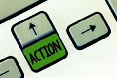 Text sign showing Action. Conceptual photo fact or process doing something typically to achieve aim goal.  royalty free stock image