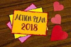 Text sign showing Action Plan 2018. Conceptual photo Plans targets activities life goals improvement development written on Sticky. Text sign showing Action Plan Royalty Free Stock Photo
