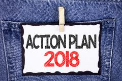 Text sign showing Action Plan 2018. Conceptual photo Plans targets activities life goals improvement development written on White. Text sign showing Action Plan Royalty Free Stock Image
