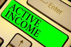 Text sign showing Active Income. Conceptual photo Royalties Salaries Pensions Financial Investments Tips Keyboard green key Intent vector illustration