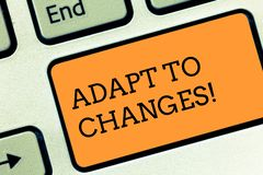 Text sign showing Adapt To Changes. Conceptual photo Innovative changes adaption with technological evolution Keyboard. Text sign showing Adapt To Changes royalty free stock image